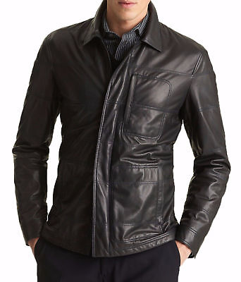 MENS GENUINE LEATHER JACKET SLIM FIT REAL CAFE RACER BIKER NEW VINTAGE ST Series