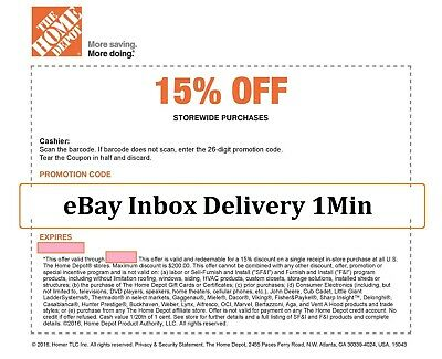 1X~ONE Home Depot 15% OFF Coupon -Instore ONLY Save upto $200 Super_FAST_1min-~~