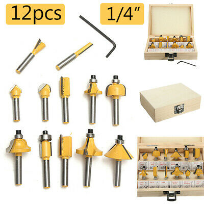 12PC 1/4'' Professional Shank Tungsten Carbide Router Bit Set + Wood Box Case US