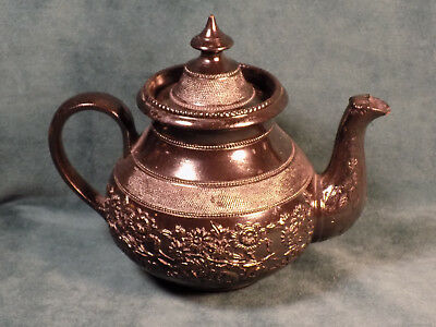 Antique Cyples Egyptian Black Pottery Teapot By Marked Early 1800'S Rare