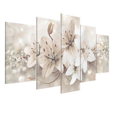 5Pcs Flower Floral Modern Canvas Print Art Painting Home Room Wall Decor Framed