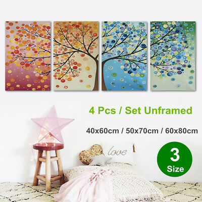4Pcs Colorful Season Tree Canvas Print Painting Wall Art Picture Decor Unframed