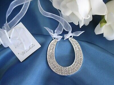 wedding good luck charm rhinestone silver horseshoe