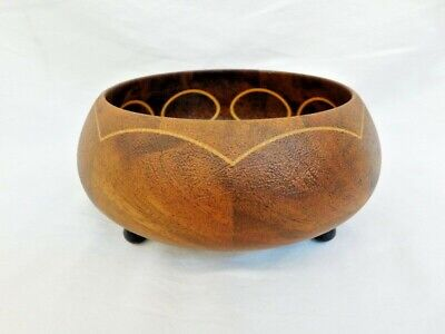 Antique Inlaid Wood Bowl With Feet Beautiful Patina Crazing Inlay Craftsman