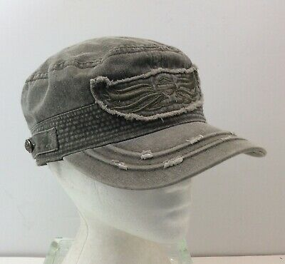 8643a8cbc02f4 HARLEY DAVIDSON Motorcycles Green Distressed Bar Shield Wings Painters Cap  Hat M