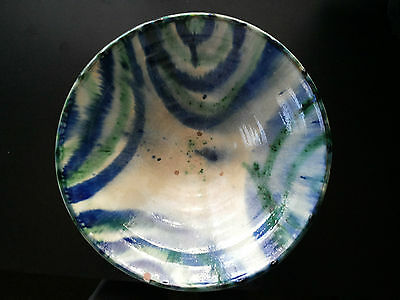 Big Glazed Polychrome Pottery. Ancient Bowl Ceramic Al Andalus Granada Kingdom