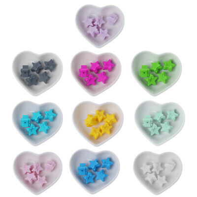 5PC Colorful Star BPA Free Silicone Beads Teething Necklace Toy DIY Baby Teether