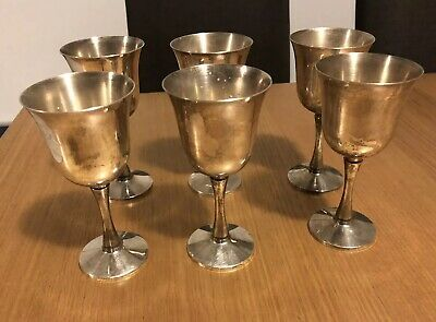 6 x Antique Vintage Silver Plated Wine Goblets Glasses Decorative