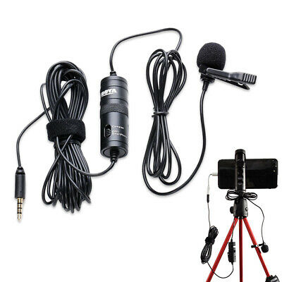 Omnidirectional Lavalier Microphone For Canon Nikon DSLR Camcorders Black