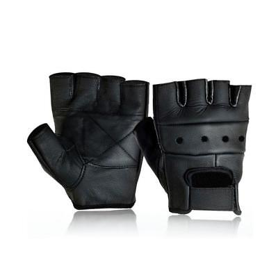 MENS LEATHER FINGERLESS DRIVING MOTORCYCLE BIKER GLOVES Low Price New