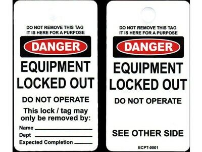 Ecco Pacific LOCKOUT TAG Maintenance Department Imprint, Tie On Mounting, Yellow