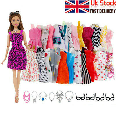 20PCS For Barbie Doll Dresses Jewellery Clothes Set Accessories UK SELLER