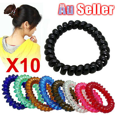 Elastic Rubber Telephone Line Bungee Hair Ties Spiral Holder Band Ponytail Rope