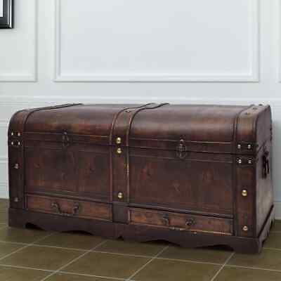 Rustic Coffee Table Plywood Chest Trunk Blanket Treasure Box W/ Latch Vintage