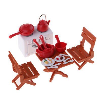 1/12 Dollhouse Miniature Plastic Dining Table Chairs Cookware Tableware Set
