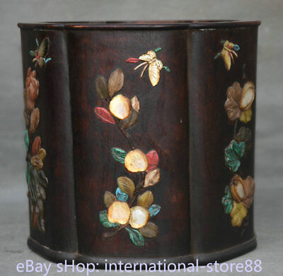 "7.2"" Old Chinese Redwood Wood Inlay Shell Dynasty Peach Buddha Hand Brush Pot"