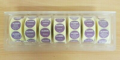 Box of Mixed Food Allergy Labels x7 Rolls of Approx 500 each