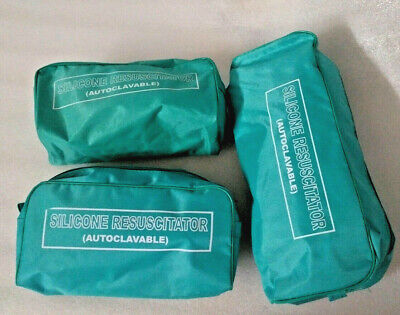 Brand New Ambu Bag Adult, Child & Infant Silicon Manual Resuscitator 3-CPR Kit