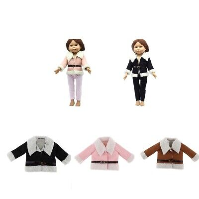 Cute Doll Winter Woolen Coat with Belt for 18inch American Doll Girl Gifts