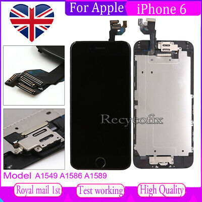 For iPhone 6 Screen Replacement LCD Display Touch Digitizer Black Button &Camera
