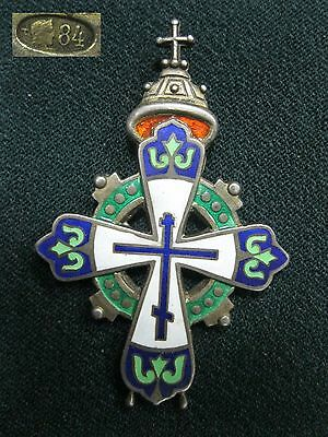 Antique Russian Orthodox CROSS 84 SILVER Enamel Russia Empire Imperial