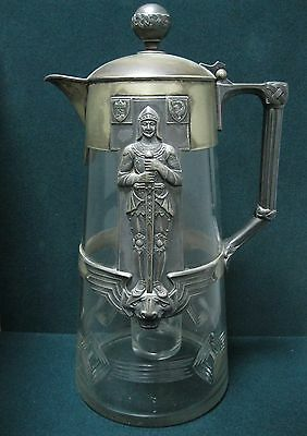Antique Deutschland Decanter carafe TROPHY metal glass Germany WWII