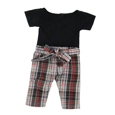 Black T-shirt Checked Pants Set for American 18inch Doll Dress up Accs