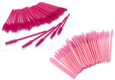 Disposable Eyelash Mascara Brushes Wands Spoolers Lash Extension Applicator Pink