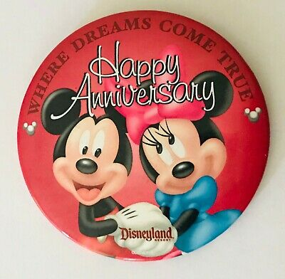 Disneyland Mickey & Minnie Mouse Anniversary Button Badge Pin Vintage (L38)