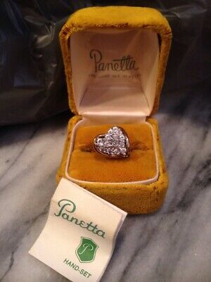 Vtg Exquisite Estate Sterling/gold overlay HEART Cocktail Ring PANETTA w/ Box