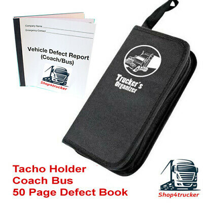 Coach Bus Digital tachograph tacho holder organiser with 50 page defect book