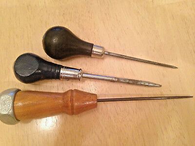 LOT of 3 Vintage Wooden Handle Awls Tool Punch in working condition USA