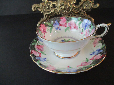 """Vintage Paragon Tea Cup & Saucer--""""Sweet Pea"""" Pattern-Footed Tea Cup"""