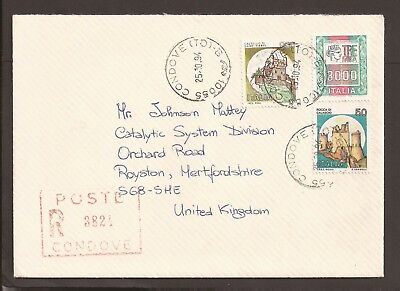 Italy 1994 registered cover to the UK.