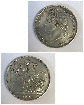 1821 King George IV IIII Silver Crown Coin