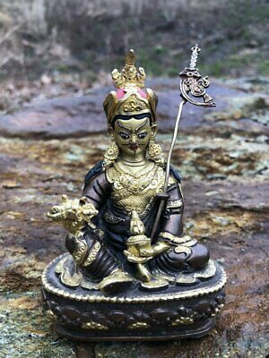 Guru Rinpoche brass copper fully gilded painted face beautiful Nepali craftsmans