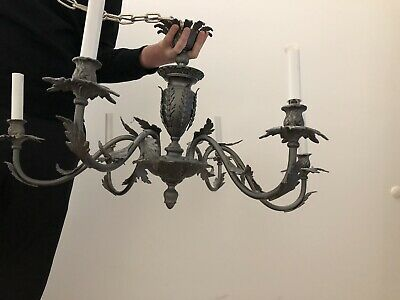 Vintage Chandelier French Empire brass Painted Gunmetal 6 Arm