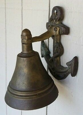Vintage Nautical Decor Brass Ship Boat Bell w Anchor Marine Wall Mount Navy