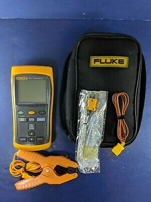 Fluke 52 II Thermometer, Excellent, Screen Protector, Soft Case, Clamp, More