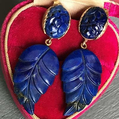Estate Vtg Chinese Oriental  14KT Gold Carved Lapis  Dangle Drop Earrings