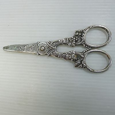 An Old German Hallmarked And 800 Stamped Rare And Stunning Silver Scissors