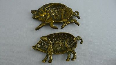 Pair of Rare Antique / Vintage Solid Brass Highly Detailed Pig Shaped Trays ?