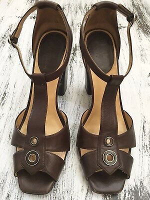 c49175a9a84b COLE HAAN Brown Leather T-Strap Peep Toe High Heels O-Ring Ankle Strap