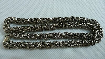 Rare Old Beautiful Solid 74.7 grams 925 Silver 51 cm. long Necklace Chain