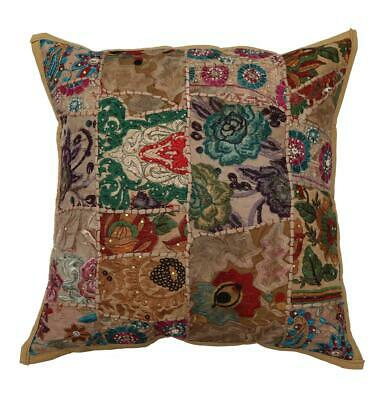 """20"""" Large Embroidered Decorative Patchwork Pillow/Cushion Cover Khaki"""