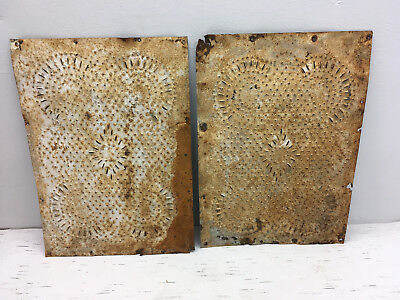 Pair Antique Pie Safe Punched TIns Cool Vintage Rusty Patina {1}