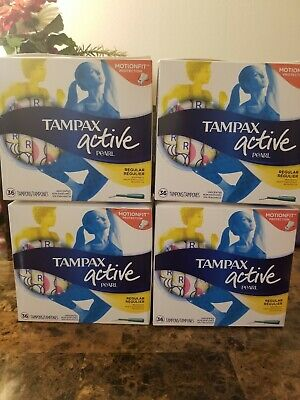 4x Tampax Active Pearl Unscented Light Absorbency Plastic Tampons 36 Count each
