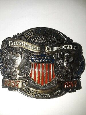 Vtg. United States of America Constitution Belt Buckle Limited Edition 1787-1987