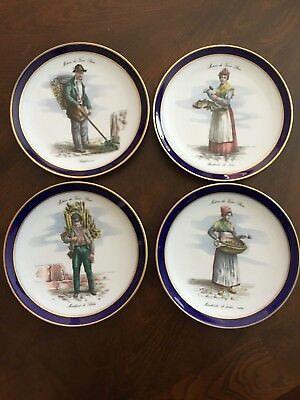 ECHT COBALT Set of 4 Collector Plates GOLDEN CROWN SCHUMANN ARZBERG GERMANY