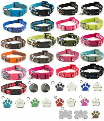 Ancol Puppy, Dog Adjustable Collar Various Designs Skull, Paw, Bone Optional Tag